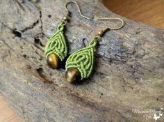 Macrame Earrings with Tiger Eye Teardrop Earrings Tribal