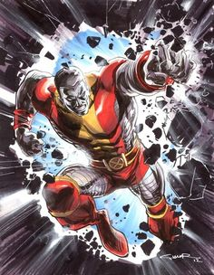 This guy was one of my favorite x men although he never really made it into any of the movies except for a brief few seconds in one. His name is colossus and he can turn himself into metal and get really big and strong.
