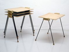 Nest of tables  by Greta Magnusson Grossman for Glenn of California 1950's Price on request  Size: 55 x 34 x 48 cm