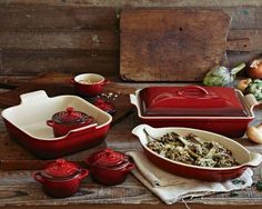 Le Creuset Stoneware 12-Piece Bakeware Set #williamssonoma    Want it.............. Maybe this week? Another Bday present??
