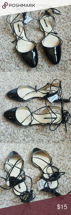 Zara lace up flats sz 8 - new Zara lace up flats sz 8 Zara Shoes Flats & Loafers