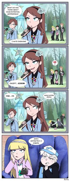 Reverse gravityfalls. I don't really like the idea of reverse gravityfalls but I find this comic strip amusing!