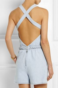 Valentino braid trimmed denim playsuit romper