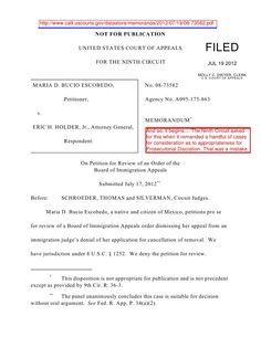 maria-d-bucio-escobedo-v-holder-9th-cir-jult-19-2012-expressing-no-opinion-on-prosecutorial-discretion by BigJoe5 via Slideshare