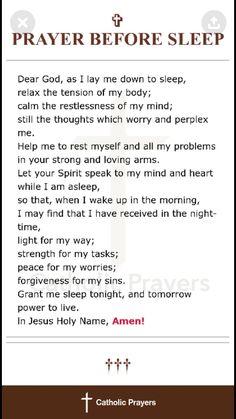 Prayer before sleep Prayer Scriptures, Bible Prayers, Faith Prayer, God Prayer, Prayer Quotes, Spiritual Quotes, Bible Verses, Catholic Prayers Daily, Prayer For Forgiveness