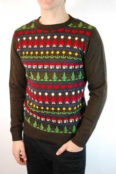 Men's brown folk design Nordic Christmas jumper.
