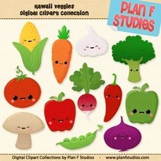 Kawaii Veggies - Clip Art Collection (For Personal Use) INSTANT DOWNLOAD on Etsy, $3.99
