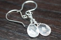 Rose Quartz and Sterling Silver Earrings.