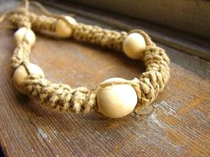Ecru  Wood Beaded Thick Hemp Necklace by ecocreations on Etsy