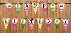Pink Tractor Time Happy Birthday Banner INSTANT by DBCelebrations