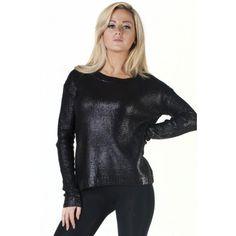 Black Studded Shoulder Detail Foil Jumper