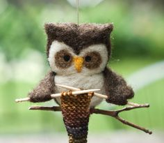 Needle Felted Owl Ornament  Knitting by scratchcraft on Etsy @Kjirsten Cantrell