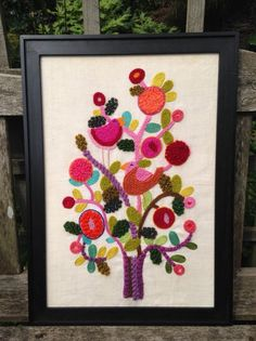mid-century vintage framed crewel BIRD/FLOWER picture wall hanging