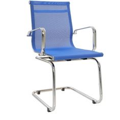Mid Back Fixed Chair In Blue Colour