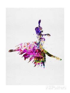 Ballerina on Stage Watercolor 4 Konsttryck