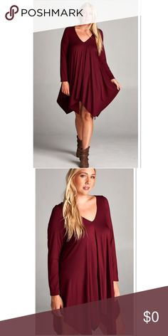 GORGEOUS WINE SWING STYLE ASYMMETRICAL DRESS Isn't this a beauty. Deep Burgundy high/ low swing dress. Wear as a dress or a long tunic with leggings and boots. Boutique Dresses High Low