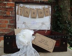 Wedding Suitcase Post Box Card Holder  Handmade by TheIvoryBow
