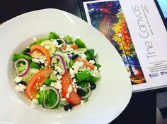 """Visit The Canvas and indulge in their """"Organic Salad Mix"""". A fresh salad made with organic produce including @organogardens sweet butterhead living Lettuce, crumbles of rich feta cheese, juicy tomatoes, crisp cucumbers, that savoury flavour of sliced red onions with that complimentary bite of black olives!! #supportlocal #cleaneating #healthyliving #trinidadandtobago #healthyfood #868 #organics #butterhead #fresh #organogardens #OGTT Future Farms, How To Make Salad, Caprese Salad, Olives, Lettuce, Trinidad And Tobago, Feta, Tomatoes, Crisp"""