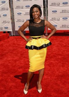 Tatyana Ali arrives at the 2012 BET Awards at The Shrine Auditorium in Los Angeles on July 1, 2012.