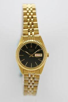 Pulsar Watch Womens Day Date Stainless Steel Gold Water Resistant Black Quartz