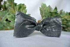 Crinkle Fabric Bow Tie  Charcoal Gray Black  Men or Boys by ClassA
