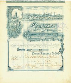 Pickman Sociedad Anónima, Sevilla, 31 October 1899, Accion de 3,000 Pesetas, #131, 41.8 x 36.2 cm, blue-grey, horizontal fold, superb, only 600 copies issued!