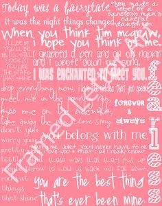 Taylor Swift Lyrics 11 x 14 Print $30.00