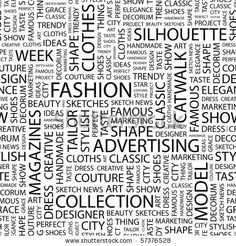 FASHION. Seamless vector pattern with word cloud. Illustration with different association terms. - stock vector