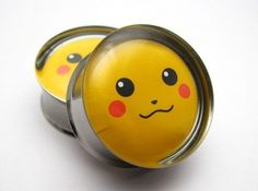 Pikachu Face Plugs 0g 00g 7/16 1/2 9/16 5/8 3/4 7/8 by SuperPlugs, $18.95