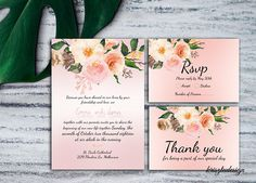 Rosegold wedding invitationRsvp cardThank you cardPinkRose