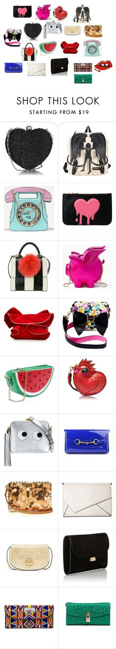 """""""purses placard de fondo"""" by angievaldes on Polyvore featuring moda, Love Moschino, Kate Spade, Nina Ricci, Betsey Johnson, MCM, Anya Hindmarch, Gucci, Dolce&Gabbana y Kendall + Kylie"""