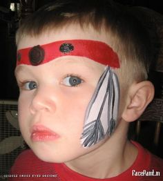 cOWBOY AND inDIAN FACE PAINT | Indian Headband w/ feather