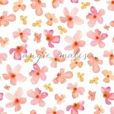 Cute Pink and Orange Watercolor Blossom Pattern. Repeating Flower Background