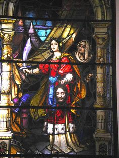 "Bavarian Art Institute of Munich, ""Judith,"" 1886-91, stained glass, Church of the Immaculate Conception, Saint Mary-of-the-Woods College, Terre Haute, Indiana, USA"