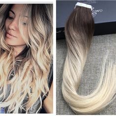 Full Shine Blonde Ombre Human Hair Balayage Skin Weft Seamless Hair Extensions Tape in Hair Extensions Virgin Color #3#4#613