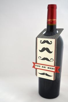 Mustache Wine Bottle Tag in Red and Black by APaperParadise, $2.50