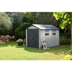 This Oakland apex Polypropylene shed is ideal for securely protecting and storing garden essentials. Keter Sheds, Apex Roof, Plastic Sheds, Double Swing, 1930s House, Roof Trusses, Bike Shed, Wooden Sheds, Roof Panels