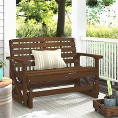 Searching Sawyerville Glider Chair by Laurel Foundry Modern Farmhouse Outdoor Patio Swing, Outdoor Glider, Patio Glider, Glider Chair, Porch Swing, Wicker Rocking Chair, Outdoor Rocking Chairs, Laurel, Wood Patio