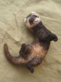 Needle felted ferret. $85.00, via Etsy.
