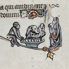 Monkeys stealing eggs from a man in an egg bowl. From Bodleian MS Douce via… Medieval Times, Medieval Art, Medieval Manuscript, Illuminated Manuscript, Old Best Friends, Fantasy Monster, Historical Art, Fantasy World, Animal Paintings