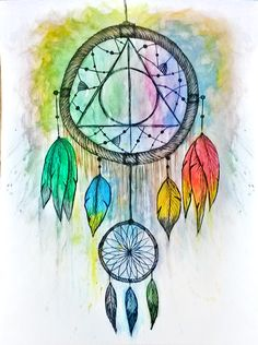 A deathly hallows dream catcher, featuring feathers from all houses of Hogwarts and the three feathers on the bottom representing the golden trio. Made with watercolours and a fine liner.