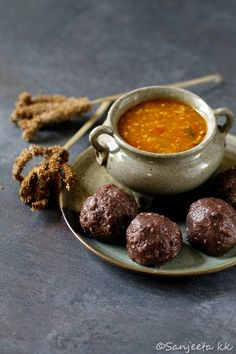 Finger Millet Dumplings with spicy tomato curry Spicy Recipes, Healthy Recipes, Millet Recipes, Tomato Curry, Not Good Enough, Dumplings, Food Styling, A Food, Finger