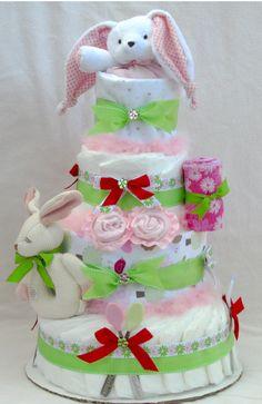 Gorgeous diaper cakes from www.la-babycakes.com