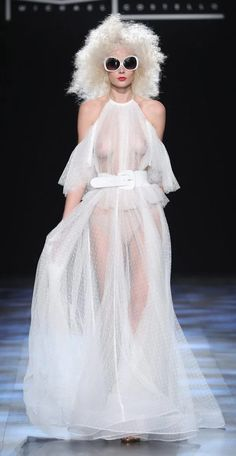 Braless models rock perms as they storm Michael Costello catwalk at New York Fashion Week in see-through lace gowns White Lace Gown, Lace Gowns, Silver Gown, Teen Girl Poses, Funny Wedding Photos, Brunette Models, Foto Pose, Beautiful Girl Image, Catwalks