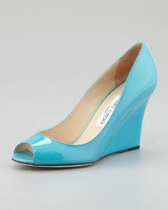 X1GMF Jimmy Choo Baxen Peep-Toe Patent Wedge, Turquoise
