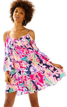 33137734f2b830 Alanna Off The Shoulder Dress   Lilly Pulitzer Embroidery On Clothes, Navy  Dress, Dress