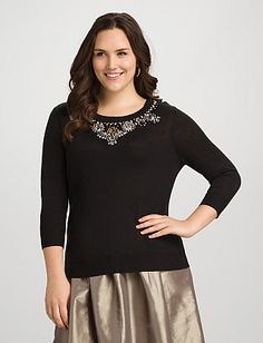 Plus Size Jeweled Tie-Back Sweater | Dressbarn