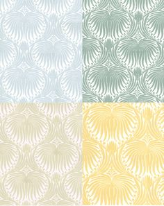 Farrow & Ball Lotus Wall Paper.  Hitting a few trends at once: wall paper, flourished prints in lemon, beige, seafoam, greyed jade