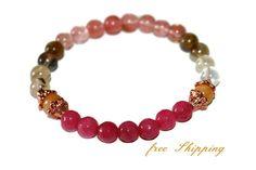 Womens Tourmaline Bracelet Pink Ruby Jewelry Womens by ZenDeLux