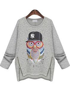 Owl Print Zipper Loose Grey Sweatshirt 16.00